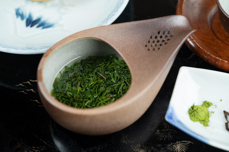 ▲お湯を吸って変化していく茶葉の様子を楽しむ